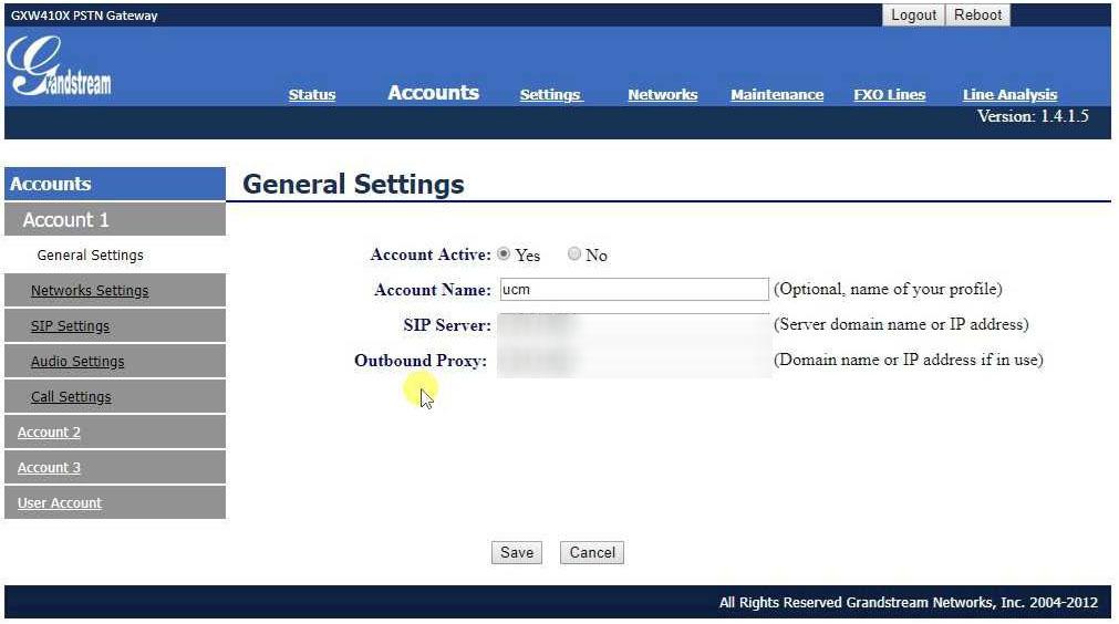 Grandstream Voice Gateway General Settings