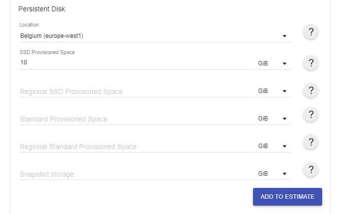 Google Cloud fiyat hesaplama aracı kullanımı disk ekleme