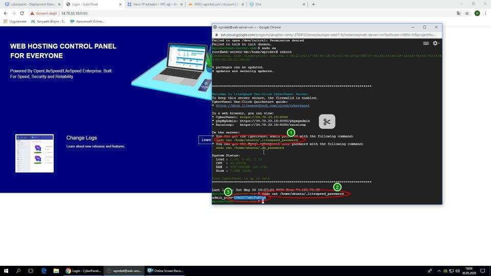 Google Cloud WordPress kurulumu Cyberpanel şifresi öğrenme