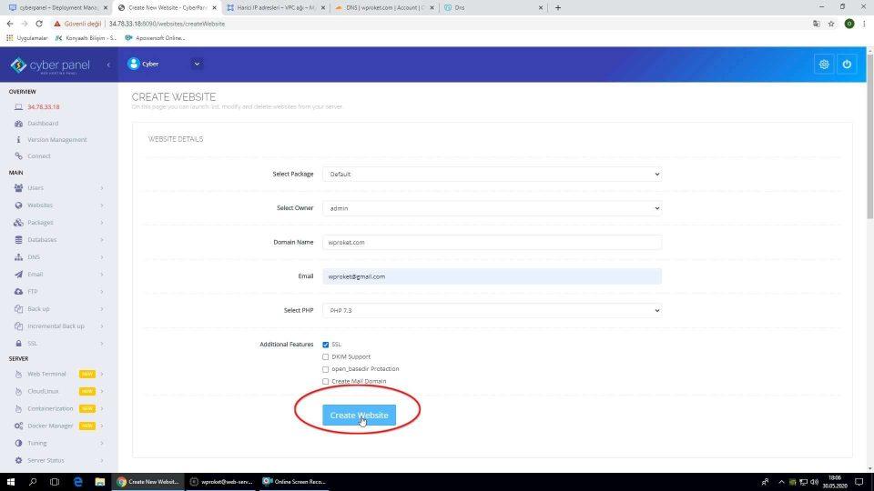 Google Cloud WordPress kurulumu Cyberpanel yeni site oluşturma