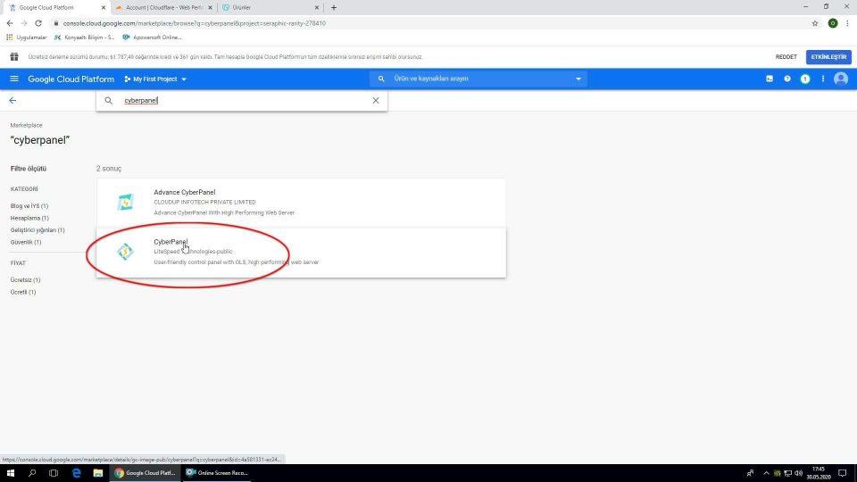 Google Cloud Cyberpanel kurulum