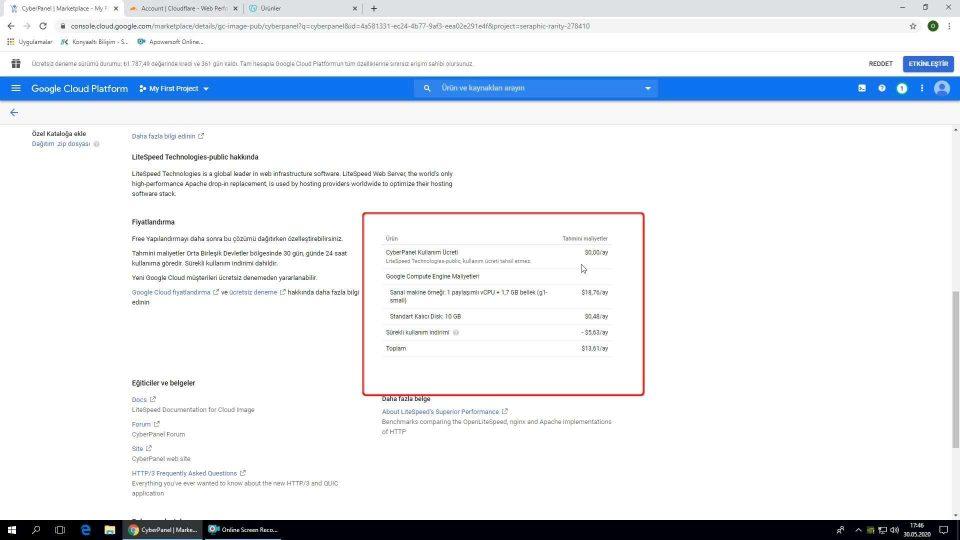 Google Cloud WordPress kurulumu aylık ödeme