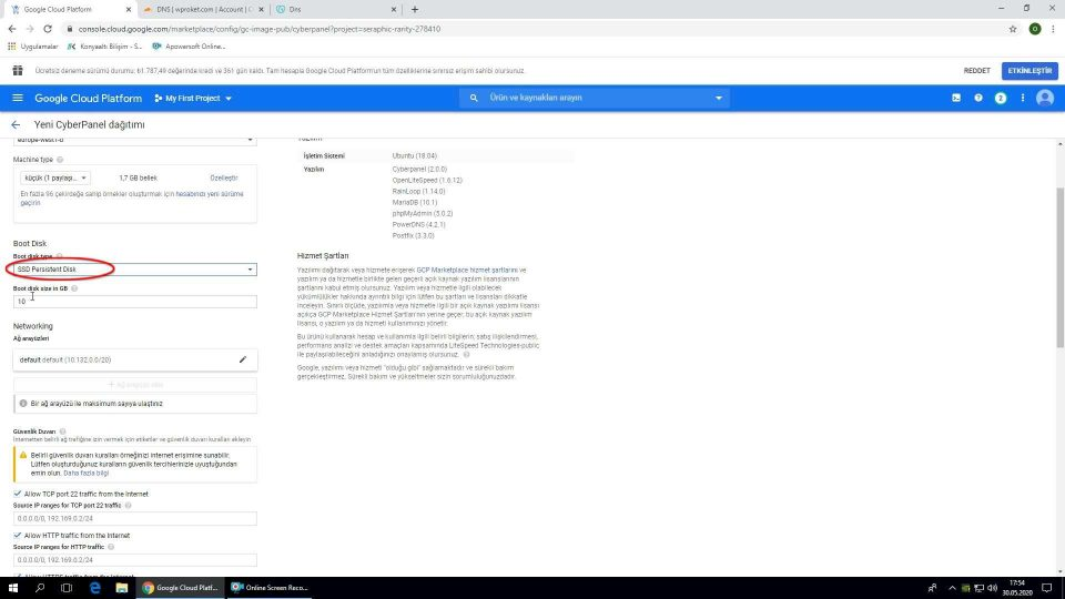 Google Cloud WordPress disk seçimi