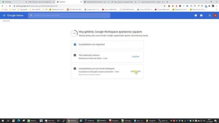 Gmail Workplace etkinleştirme adımları