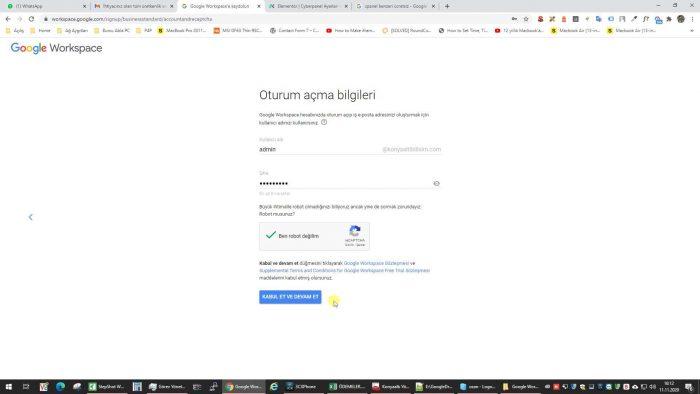 Gmail Workspace e-posta oluşturma