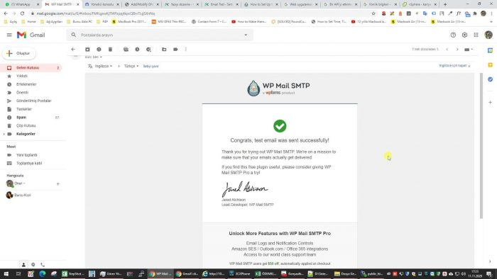 WP Mail SMTP Gmail ayarları