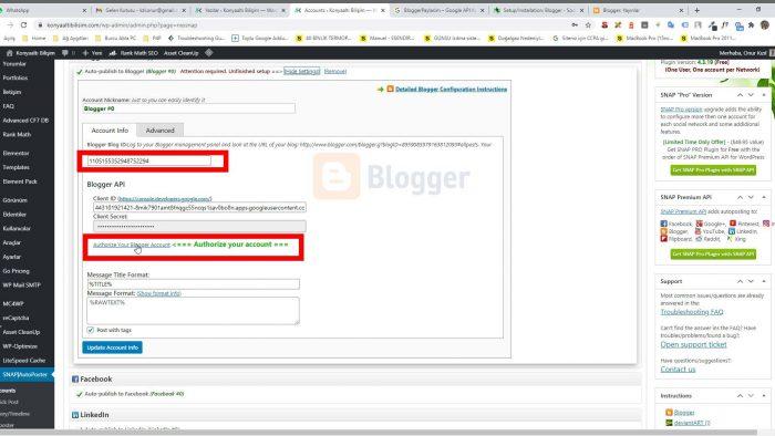 WordPress sosyal medya otomatik makale paylaşım Blogger