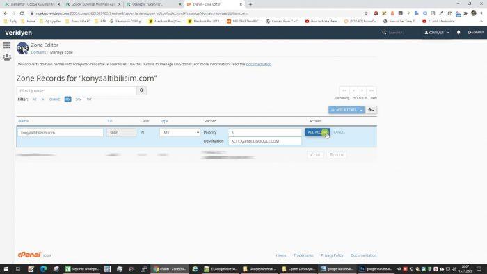 Workspace Gsuit MX kaydı ekleme