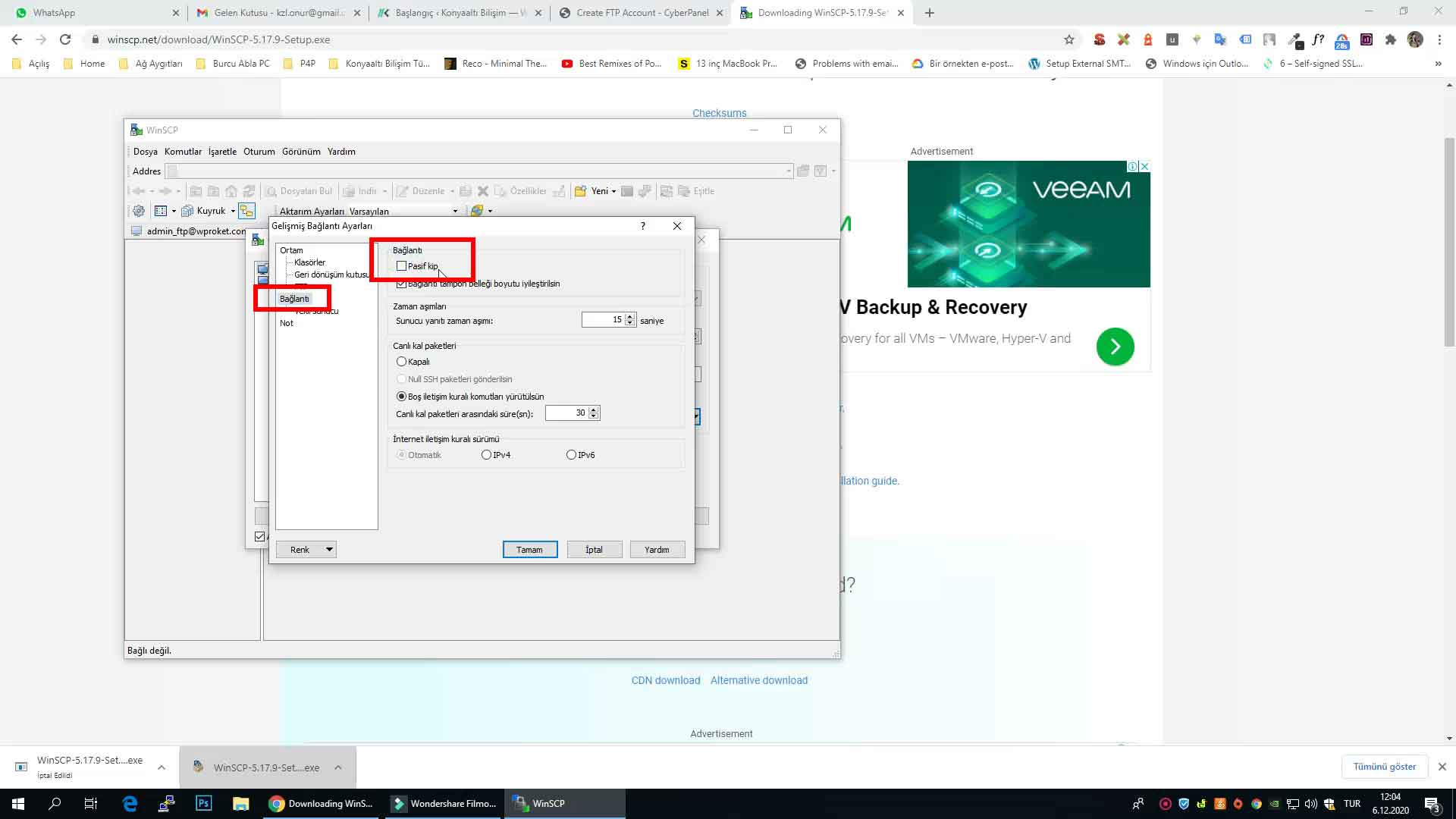Cyberpanel Winscp FTP ayarları