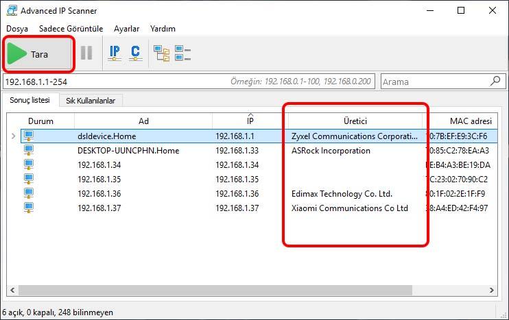 Yazıcı IP adresi bulma IP scanner ile